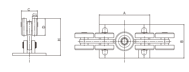cantilever gate carriage roller  9 wheels  for 80x80 track