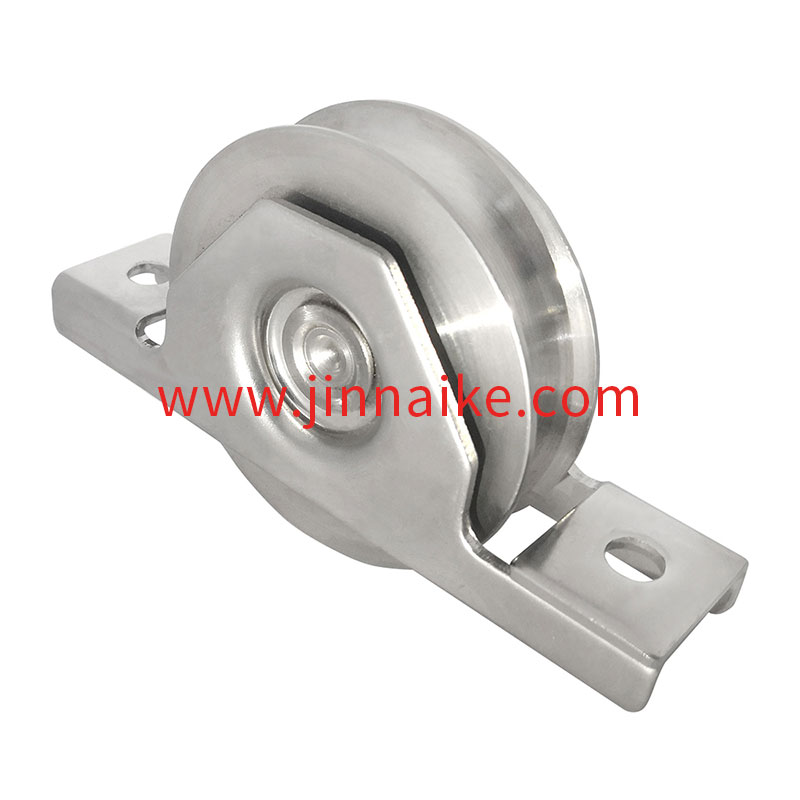 Sliding Gate Wheel with Exterior Bracket (Single Bearing,U groove,Stainless Steel 403)